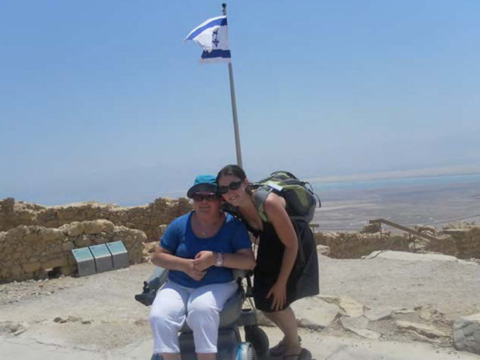 The top of Masada with a Birthright Israel Accessibility Trip
