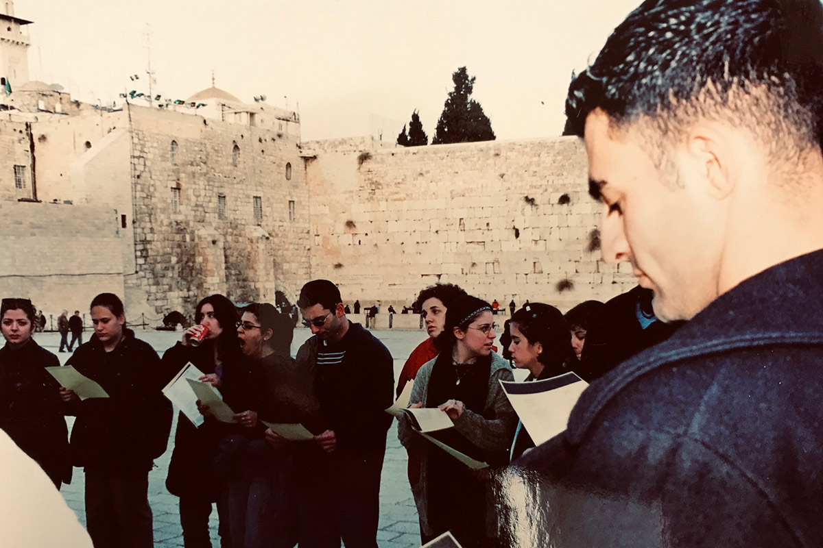 Daniel with his Birthright Israel group at the Kotel