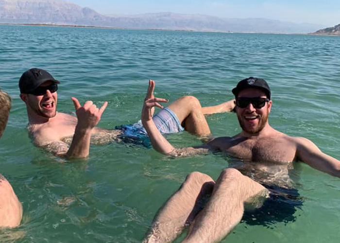 Ben and Lenny in the Dead Sea