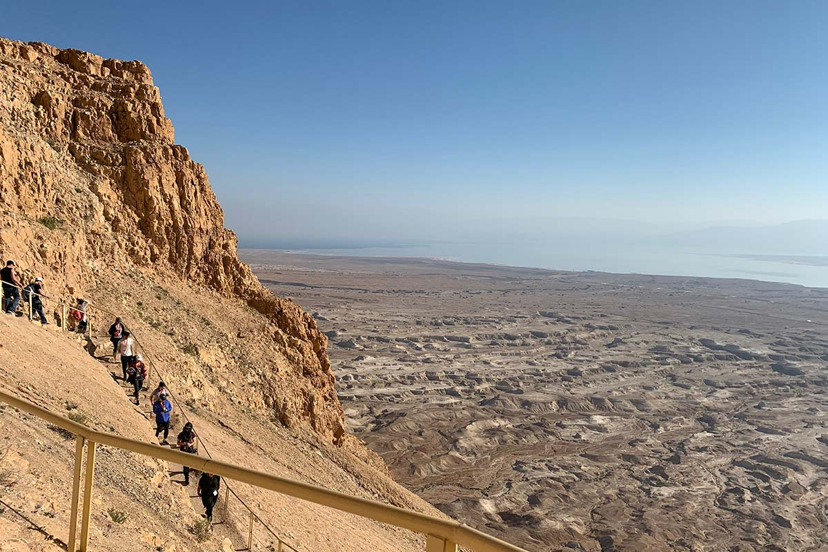 Emily's group hiking Masada