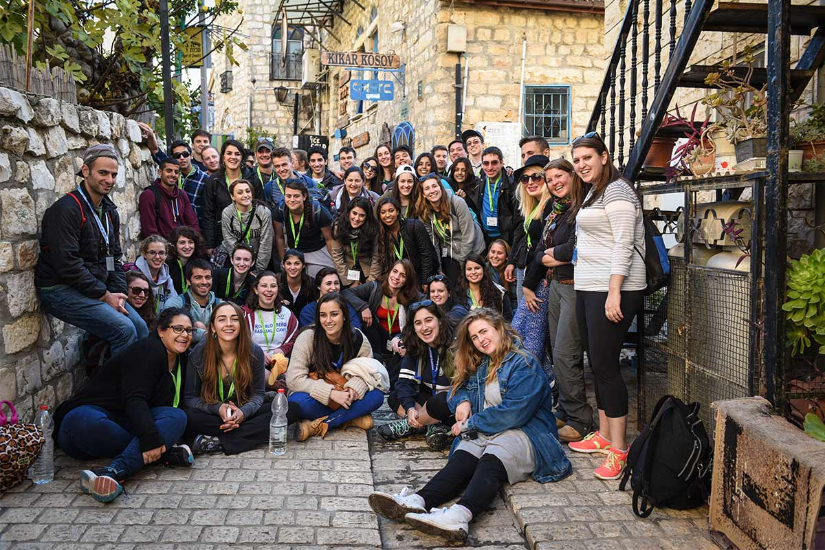 Alejandro with his Birthright Israel group in an alley in Tzfat.