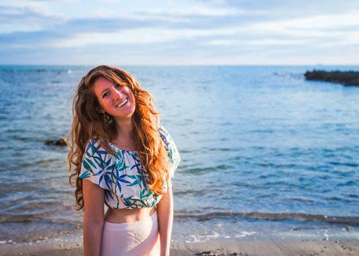 Kyla Sokoll-Ward on the beach in Israel in 2011