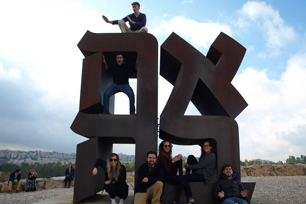 Birthright Israel participants at the Ahava landmark