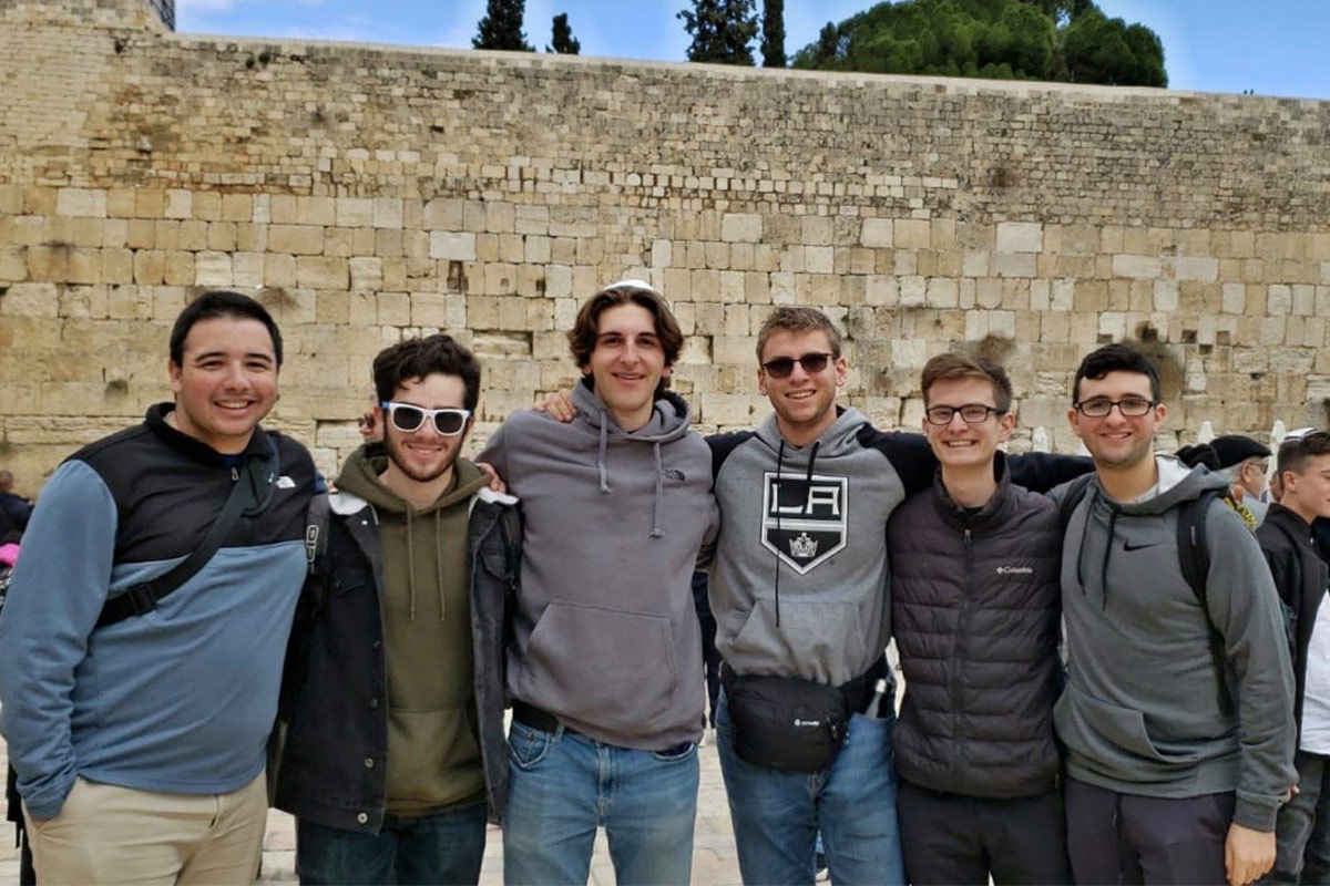 Nathan at the Western Wall with his Birthright Israel group.