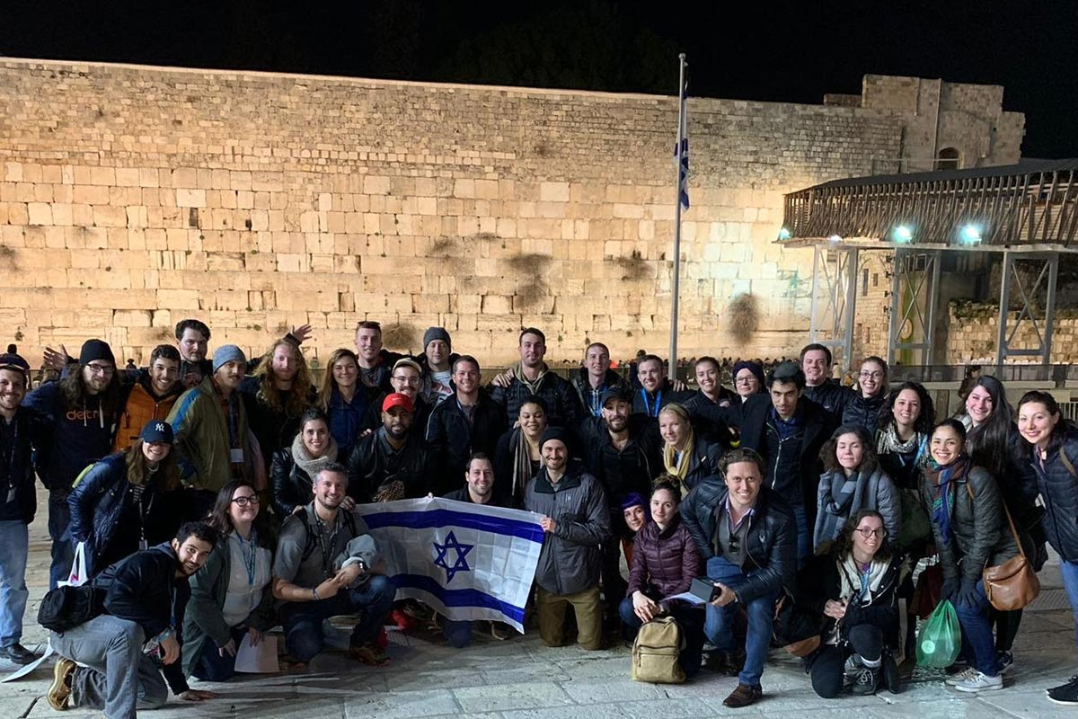 Neil St. Clair with his group in Jerusalem on a 27-32 year old Birthright Israel trip