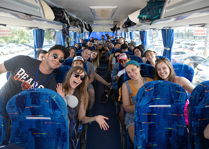 Birthright Israel participants on their bus