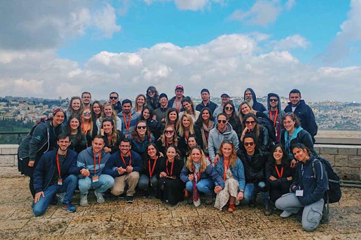 Emily and her sister with their Birthright Israel group