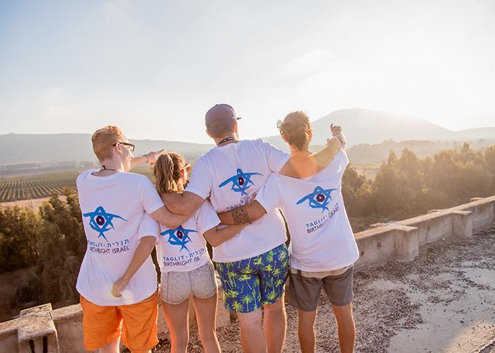 Birthright Israel participants overlooking the Israeli landscape