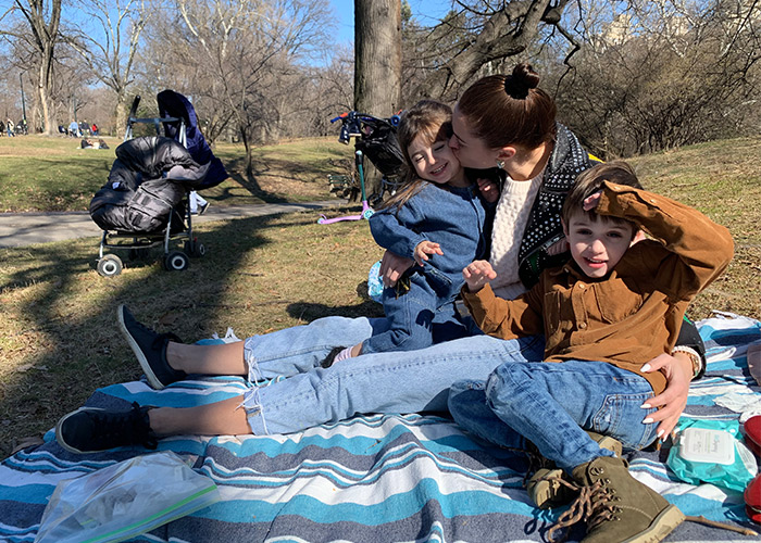 Elizabeth Sutton with her children in Central Park