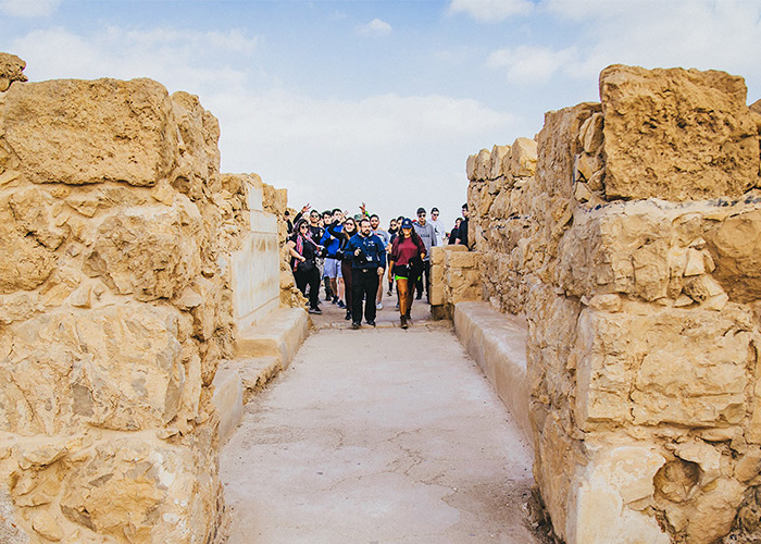 Birthright Israel participants at Masada