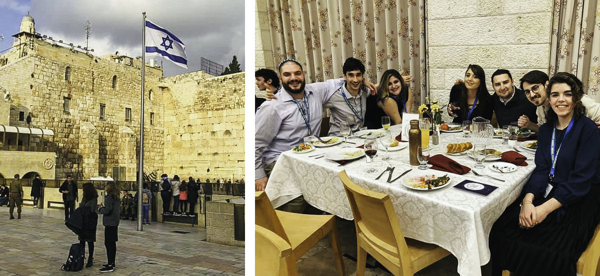 2020 Birthright Israel alumna Haley Albin observing Shabbat at the Kotel and at dinner with her group