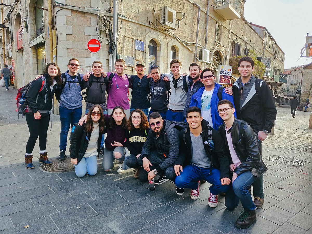 Jared and Sam with their Birthright Israel group in Jerusalem