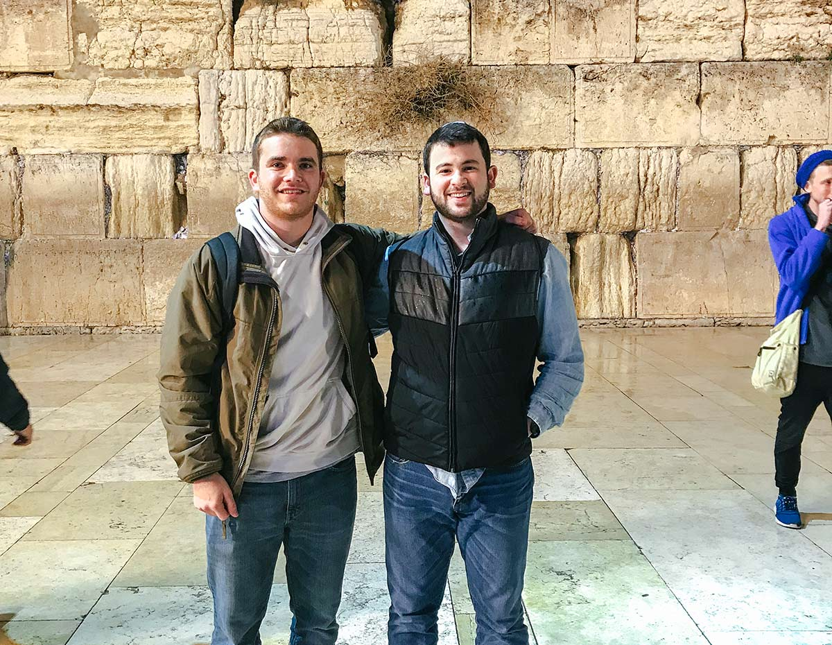 Jared and Sam at The Kotel on Birthright Israel