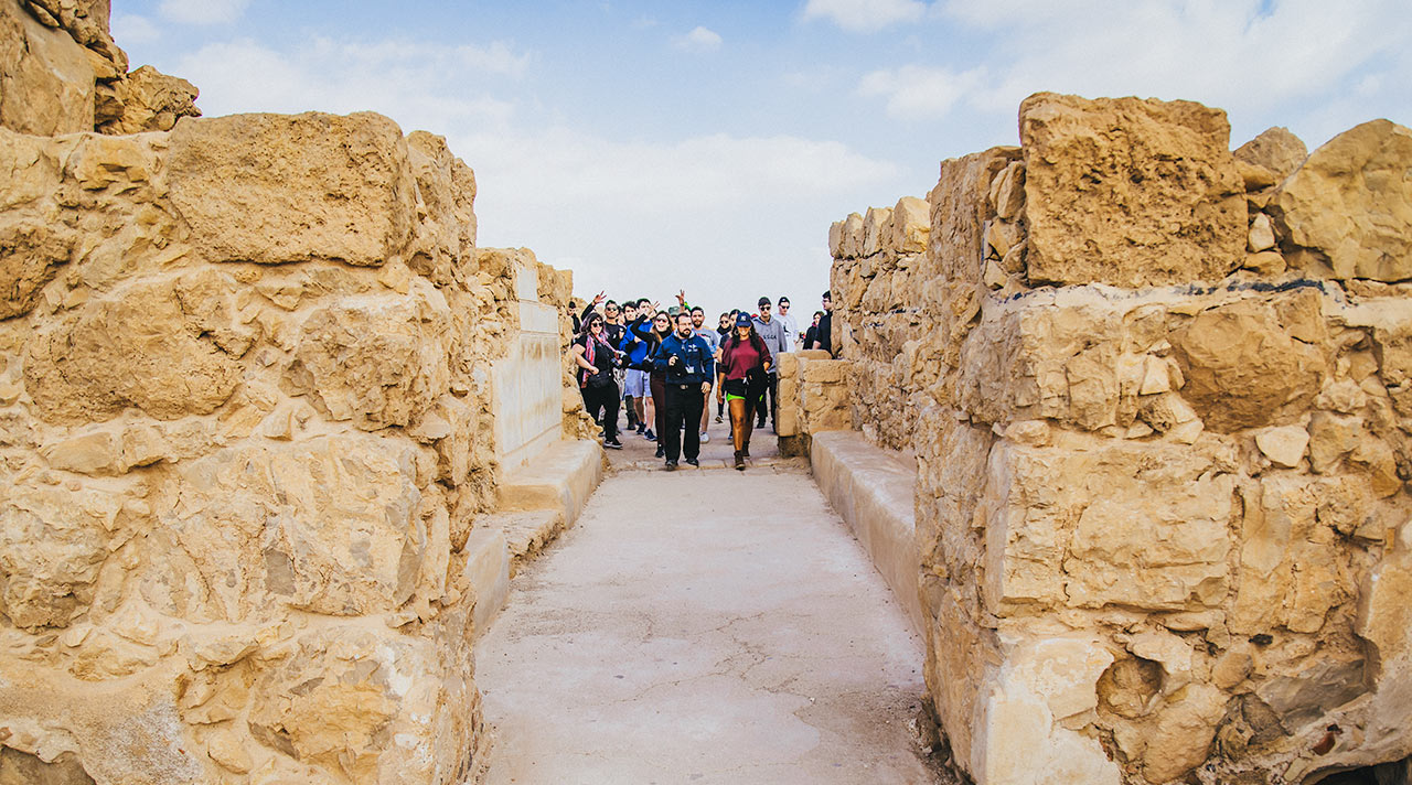Birthright Israel group on top of Masada in the Winter of 2020