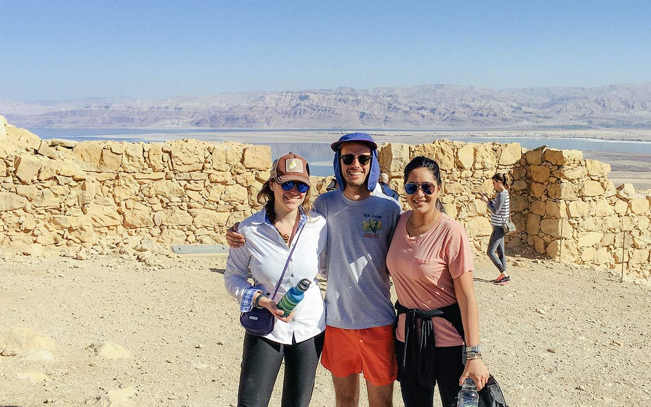 Philadelphia Birthright Israel alumna Alix Ablaza on top of Masada with her group