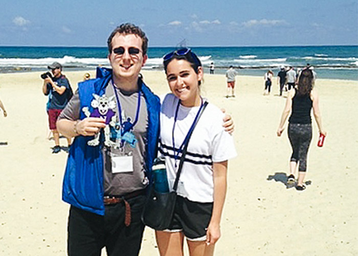 Billy Steinberg on the beach in Tel Aviv on his 2018 Birthright Israel trip
