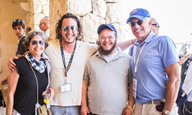 Birthright Israel donors with an accessibility trip participant and their tour educator