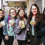 Jordyn Landau eating falafel with her 2017 Birthright Israel group