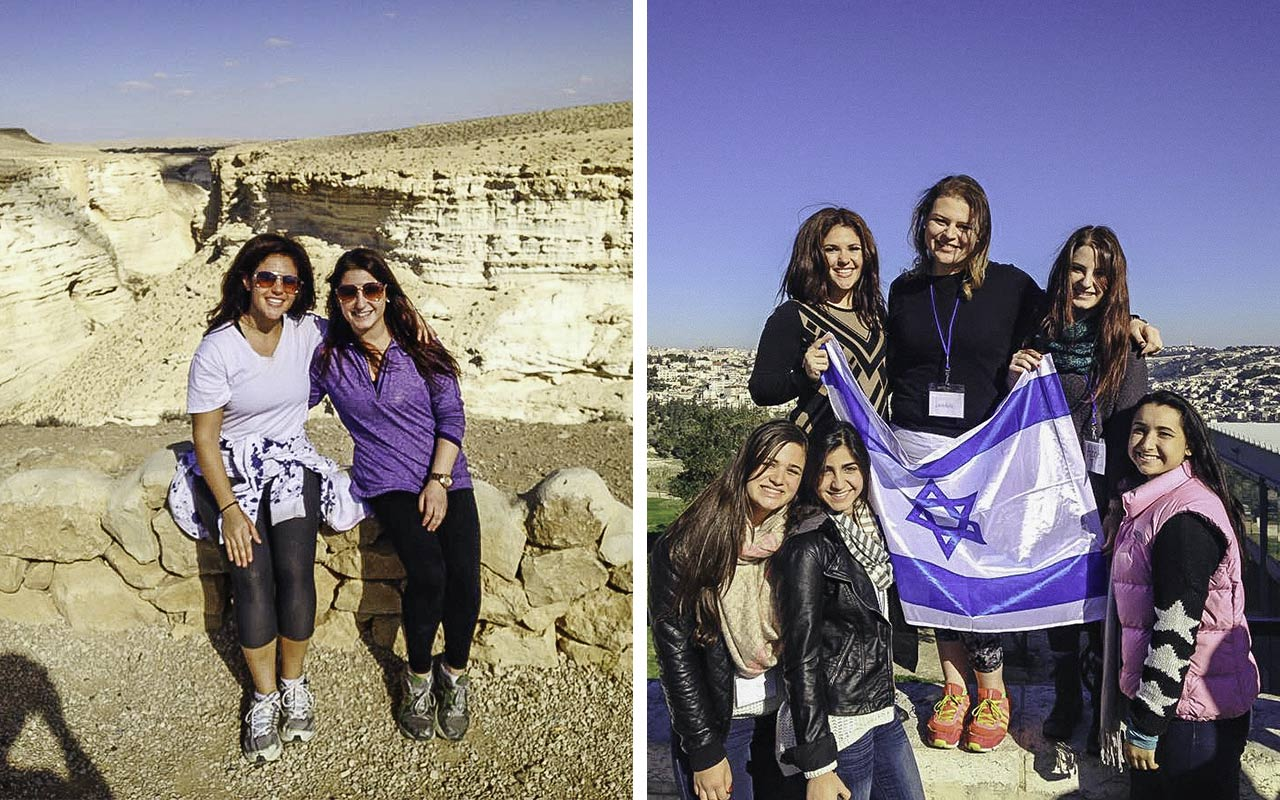 Photos of Abby Taub in the Negev and on Mt. Scopus above Jerusalem on her Birthright Israel trip in 2015