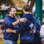 Birthright Israel participants hugging each other.