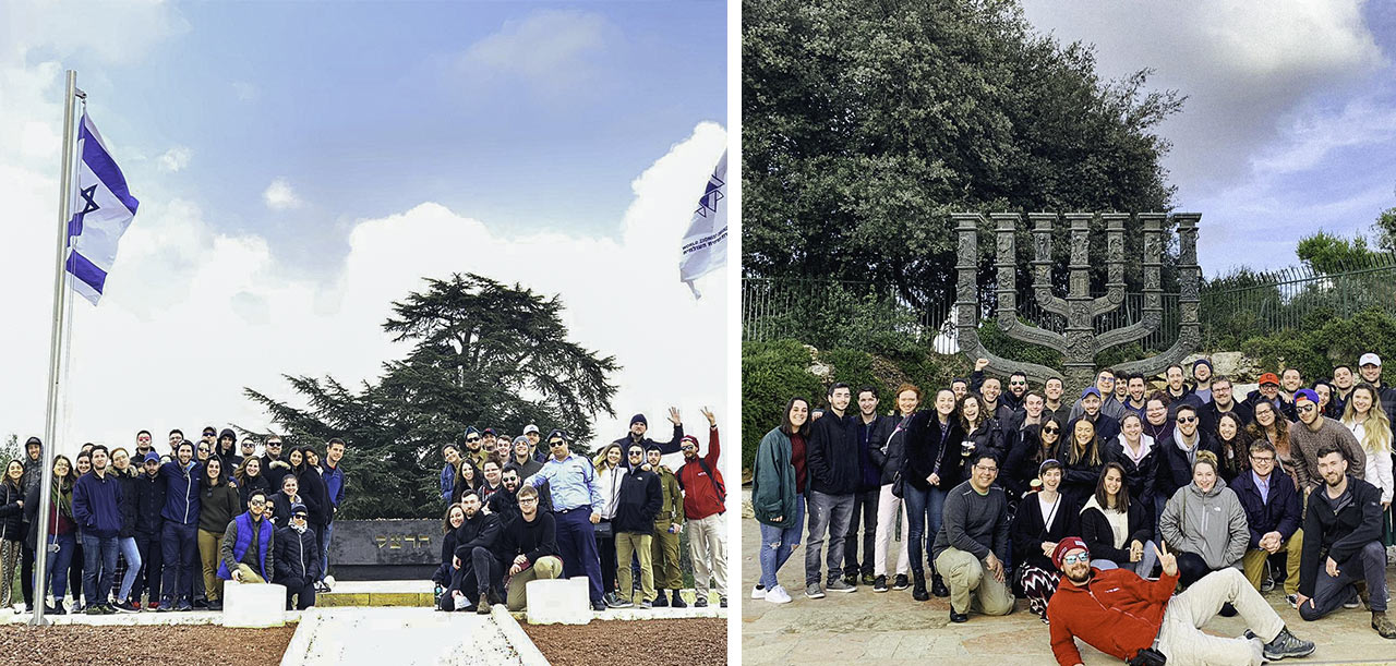 A collage of photos of Liora Mara and Guy Richards' Birthright Israel group at Har Herzl