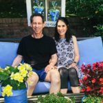 Sara & Stuart Meyers in their backyard