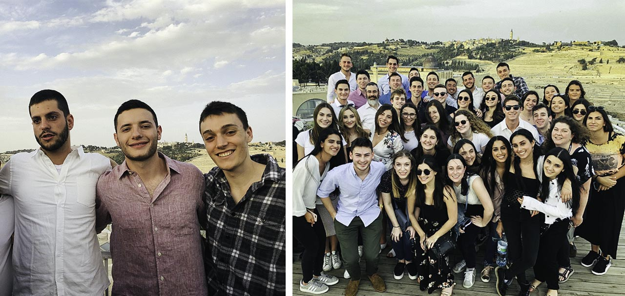 Daniel Winston with his Birthright Israel group in Jerusalem in 2019