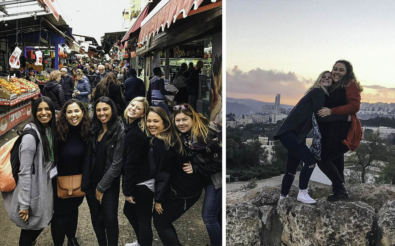 Haley Abruzzese with members of her Birthright Israel bus in the Shuk in 2016