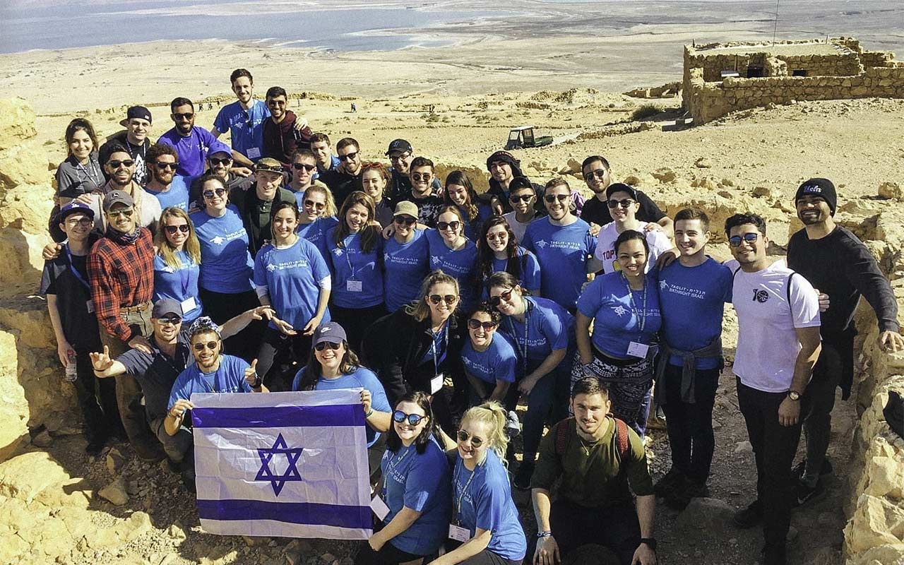 Jared Sapolsky's Birthright Israel group on top of Masada in 2013