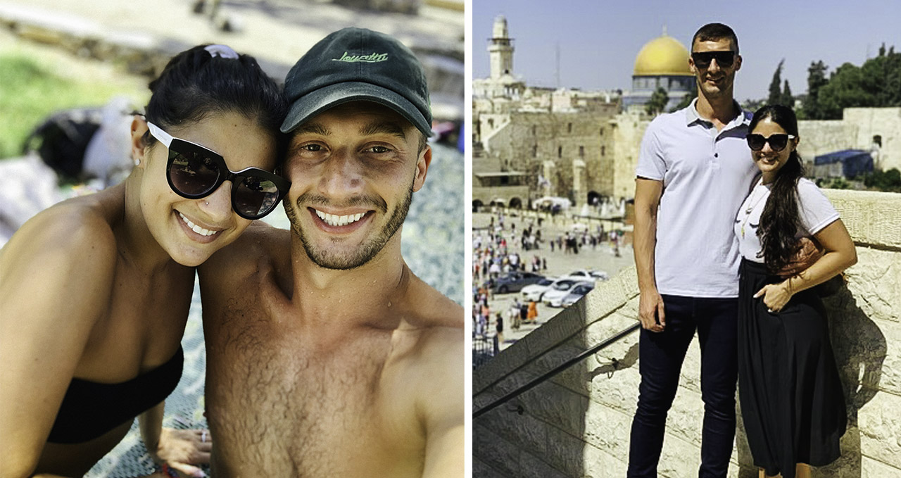 A collage of photos of Loren and Alexei Brovarnik in Israel: on the beach and at the Kotel