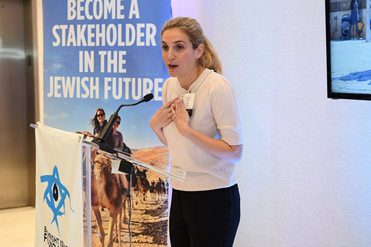 Courtney Simmons Demri speaking at a Birthright Israel Foundation event