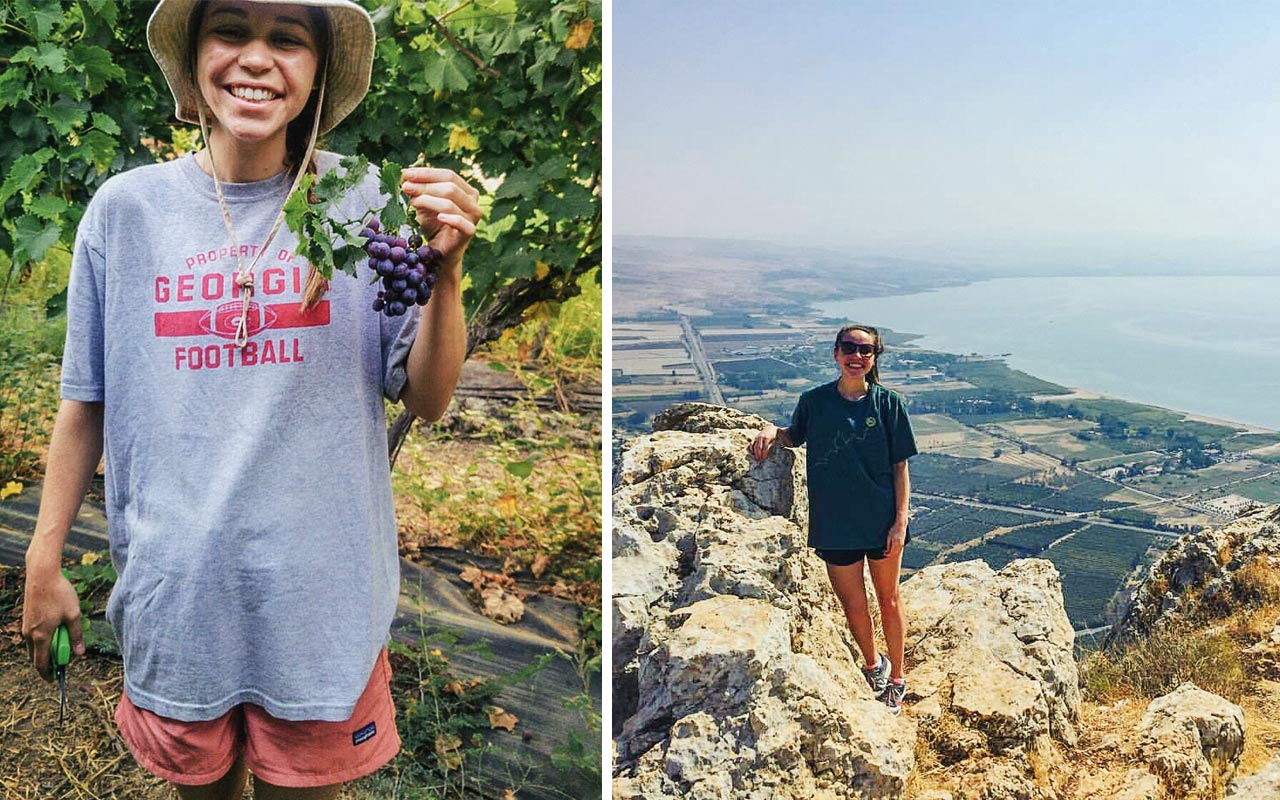 Birthright Israel participant Melissa Gurevitch at a vineyard in Northern Israel
