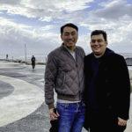 Alex Lin-Goldsmith with his husband Danny in Tel Aviv on his Birthright Israel trip