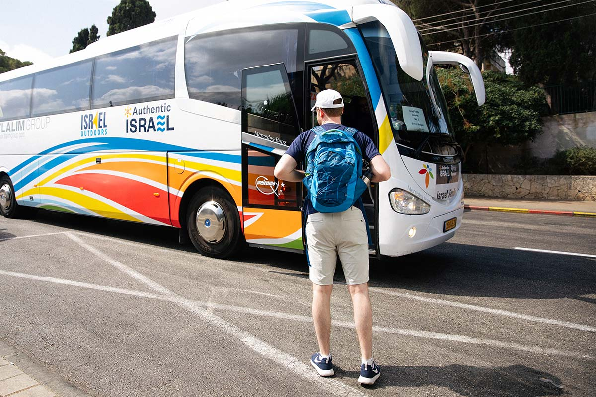 A Birthright Israel participants getting on to the bus