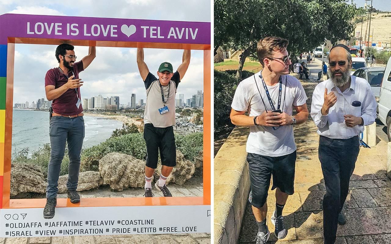 Photos of Jeffrey Green in Tel Aviv on the Love is Love sculpture as well as walking with a rabbi in Jerusalem