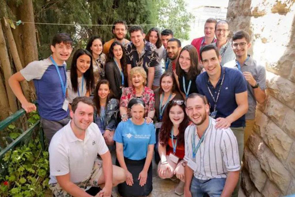 A Birthright Israel group with Holocaust survivor Rinat.