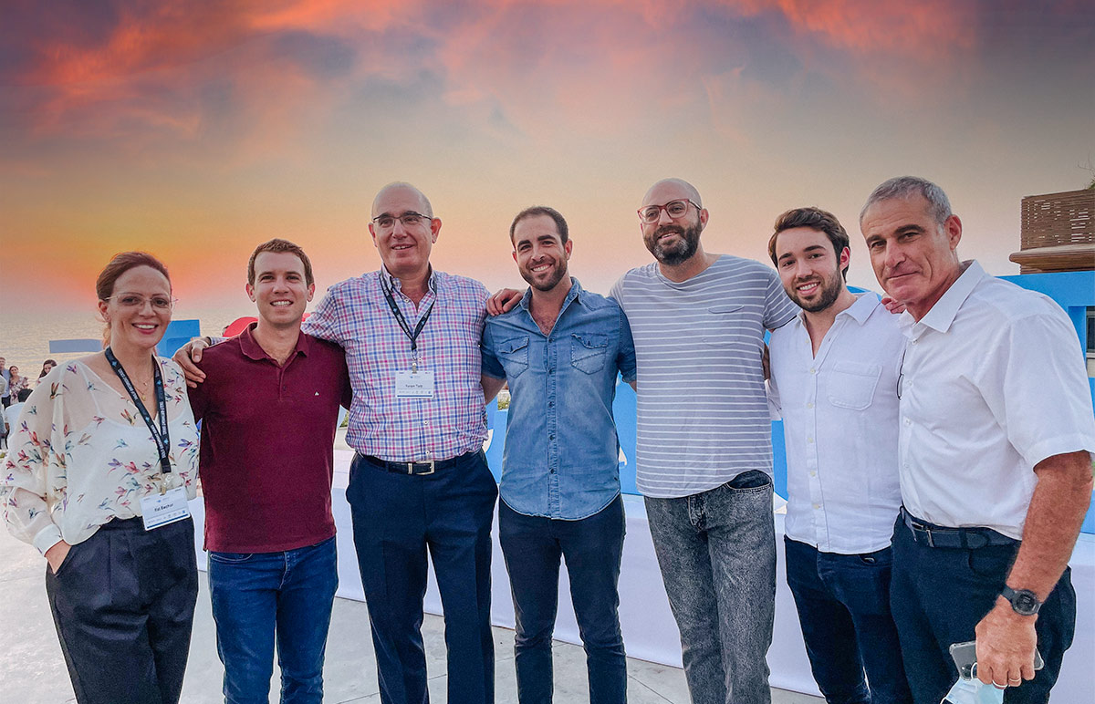 Birthright Israel Foundation Board Member Avery Rosin with Birthright Israel CEO Gidi Mark and other staff members